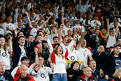 England fans celebrate after England replacement Billy Vunipola scores a try at the end of the match to secure a crucial bonus point win in the match - Mandatory byline: Rogan Thomson/JMP - 07966 386802 - 18/09/2015 - RUGBY UNION - Twickenham Stadium - London, England - England v Fiji - Rugby World Cup 2015 Pool A.