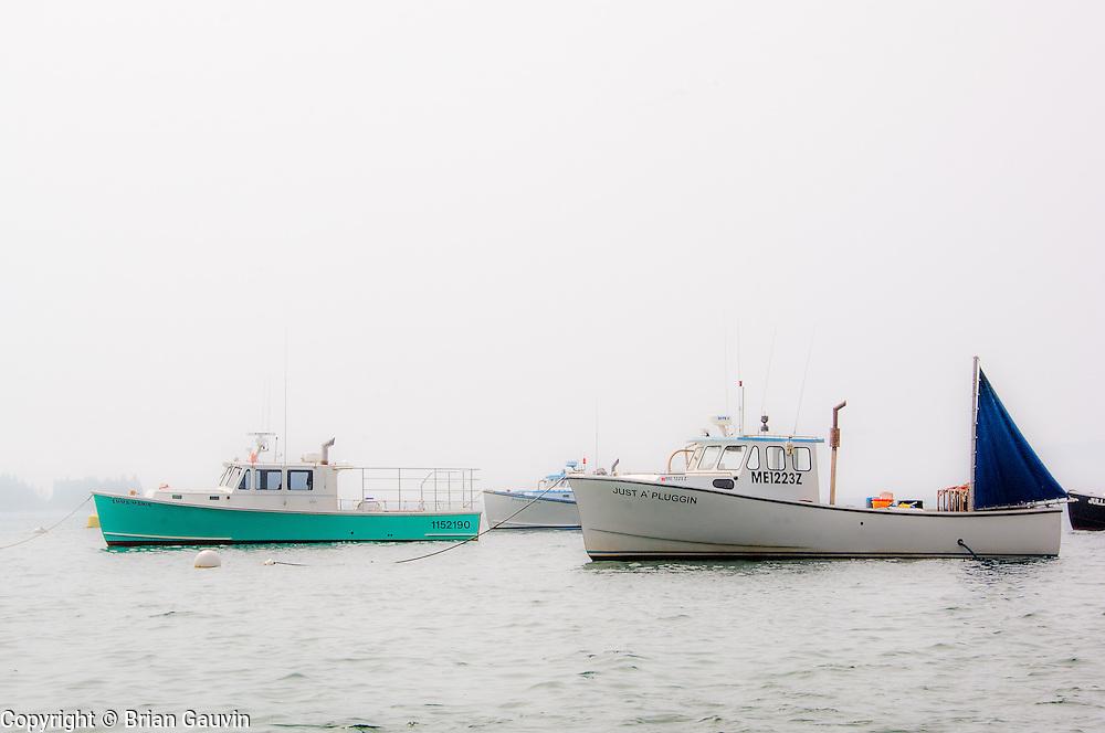 Lobster boats at Southwest Harbor near Bar Harbor, Maine.