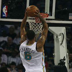 Tyson Chandler #6 dunks against the New York Knicks  on April 4, 2008 at the New Orleans Arena in New Orleans, Louisiana. New Orleans Hornets defeated the New York Knicks 118-110 and with the win clinched a NBA Playoff birth.