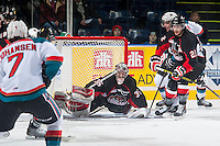 KELOWNA, CANADA - DECEMBER 30: Ty Edmonds #35 of Prince George Cougars makes a save against the Kelowna Rocketson December 30, 2014 at Prospera Place in Kelowna, British Columbia, Canada.  (Photo by Marissa Baecker/Shoot the Breeze)  *** Local Caption *** Ty Edmonds;