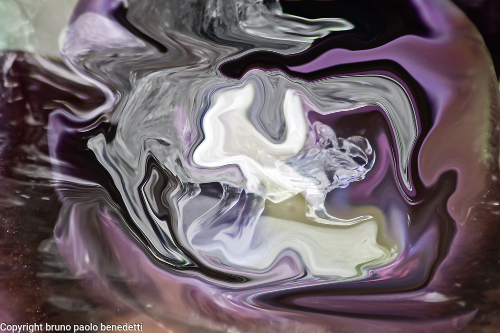 abstract fluid ice: fluid floating shapes on violet background with many transparencies and shades.
