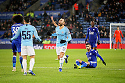 Manchester City defender Nicolas Otamendi (30) is disappointed at the refs decision during the quarter final of the EFL Cup match between Leicester City and Manchester City at the King Power Stadium, Leicester, England on 18 December 2018.