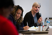 School Board member Mary Burke responds to a question during the South Side Madison Madison School Board public forum hosted by Mount Zion Baptist Church in Madison, Wisconsin, Tuesday, March 6, 2018.