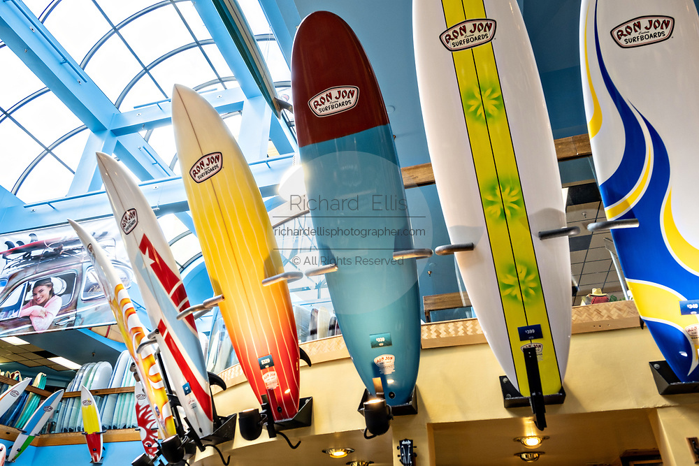 Surfboards inside the world famous Ron Jon Surf Shop in Cocoa Beach, Florida.