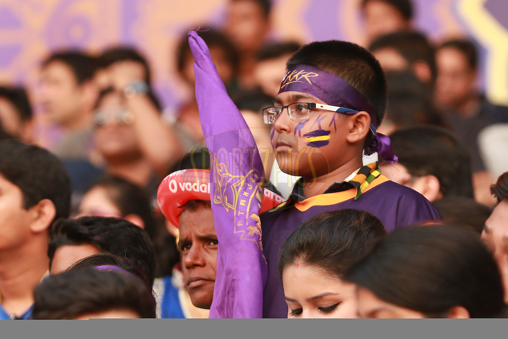 Fans during match 55 of the Vivo Indian Premier League ( IPL ) 2016 between the Kolkata Knight Riders and the Sunrisers Hyderabad held at the Eden Gardens Stadium in Kolkata on the 22nd May 2016<br /> <br /> Photo by Saikat Das / IPL/ SPORTZPICS