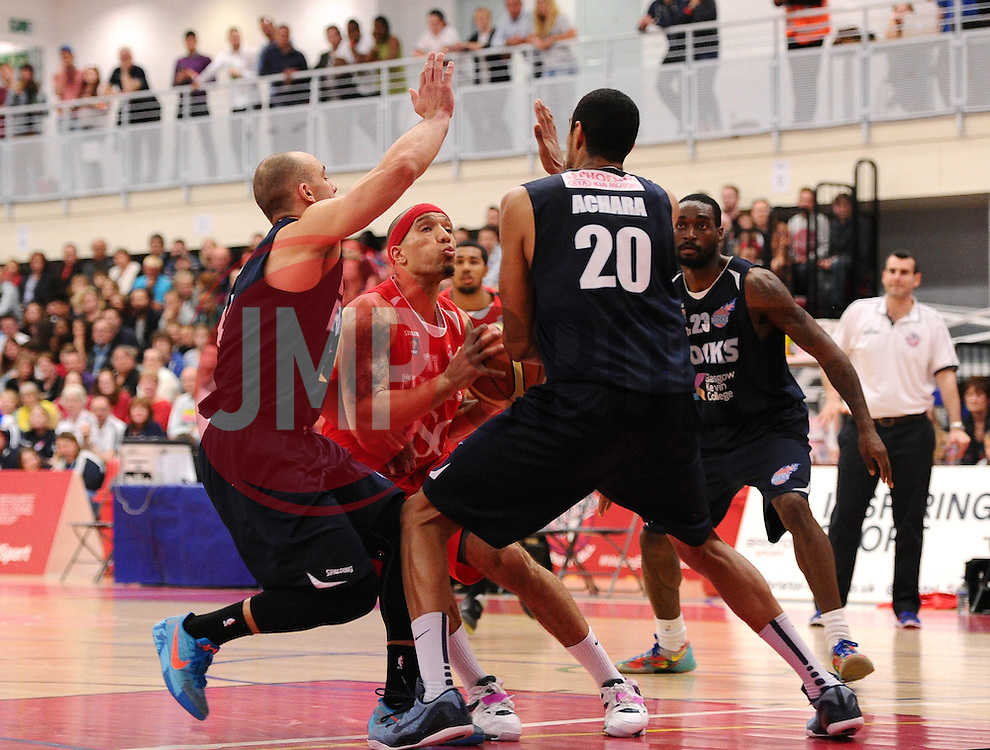 Bristol Flyers' Greg Streete is crowded out  - Photo mandatory by-line: Joe Meredith/JMP - Mobile: 07966 386802 - 11/04/2015 - SPORT - Basketball - Bristol - SGS Wise Campus - Bristol Flyers v Glasgow Rocks - British Basketball League