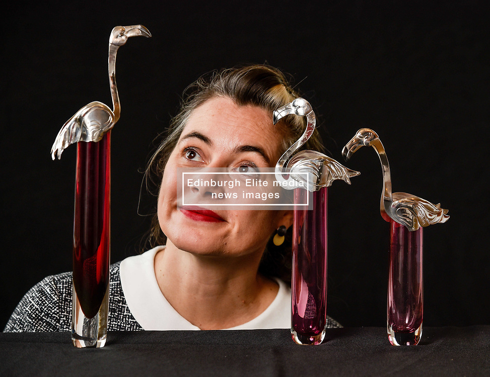 Edinburgh artist Bryony Knox with her glass and silver pieces 'flamboyance of flamingoes' which is at the Festival and expected to sell for £1800.<br /> <br /> © Dave Johnston/ EEm