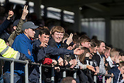 York City fans after the final whistle at the Sky Bet League 2 match between Hartlepool United and York City at Victoria Park, Hartlepool, England on 16 April 2016. Photo by George Ledger.