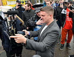 Pictured: Former English Defence League leader Tommy Robinson outside court. outside court.<br /> <br /> Mark Meechan (30) from Coatbridge, Lanarkshire, returns to Airdrie Sheriff Court for sentencing after being convicted of filming his girlfriends pug raising it's paw in a nazi salute in response to phrases such as Sieg Heil. The clip, which was posted on Youtube, was viewed more than 3 million times. He was fined £800 GBP<br /> <br /> (c) Dave Johnston / Eem