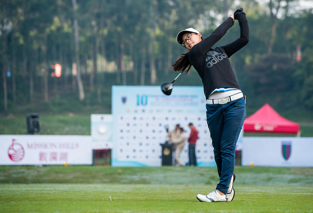 Yu Sang Hou of China in action during day one of the 10th Faldo Series Asia Grand Final at Faldo course in Shenzhen, China. Photo by Xaume Olleros.