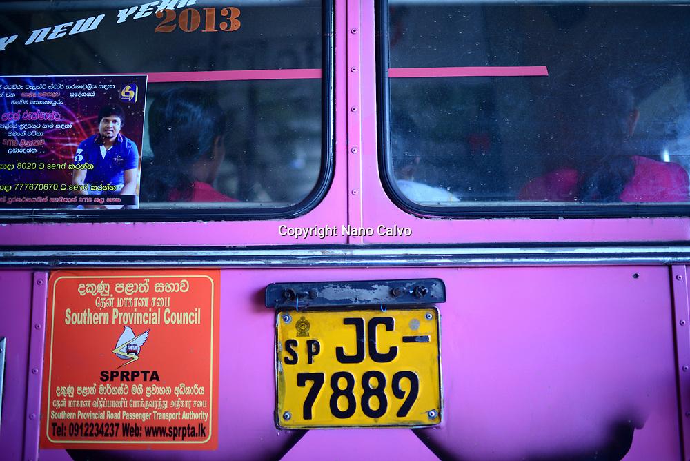 Back of purple public bus, Galle, Sri Lanka
