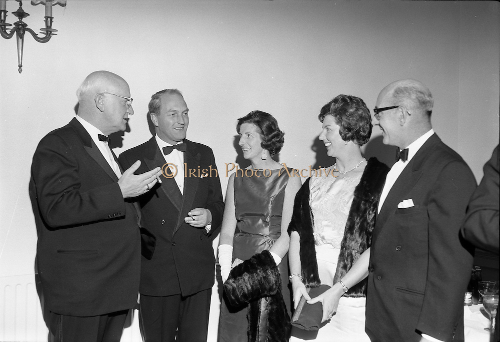 20/09/1967<br /> 09/20/1967<br /> 20 September 1967<br /> International SPAR dinner at the Shelbourne Hotel, Dublin. Picture shows (l-r): Mr Henri Holland, President, Spar International; Mr George Colley, Minister for Industry and Commerce; Mrs Mary Colley; Mrs O'Connell and Mr D.A. O'Connell, Chairman SPAR (Ireland) Limited, at the event.