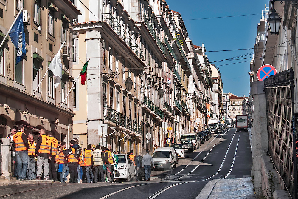 Lisbon, November 2012. Street at Bairro Alto district. Docker workers demonstration against crisis cutbacks.