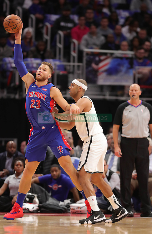 October 17, 2018 - Detroit, MI, USA - The Detroit Pistons' Blake Griffin, left, looks to drive against the Brooklyn Nets' Jared Dudley in the first period on Wednesday, Oct. 17, 2018, at Little Caesars Arena in Detroit. (Credit Image: © Kirthmon F. Dozier/Detroit Free Press/TNS via ZUMA Wire)
