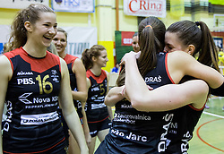 Iza Mlakar of Nova KBM Branik celebrate after winning during volleyball match between Nova KBM Branik Maribor and OK Luka Koper in Final of Women Slovenian Cup 2014/15, on January 18, 2015 in Sempeter v Savinjski dolini, Slovenia. Photo by Vid Ponikvar / Sportida