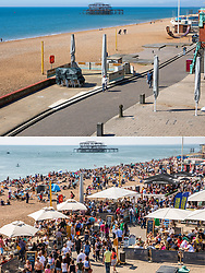 © Licensed to London News Pictures. 04/04/2020. Brighton, UK. Comparison showing Brighton and Hove seafront today April 4th 2020 (TOP) and the same scene at easter weekend in 2019 (BOTTOM). Photo credit: Hugo Michiels/LNP