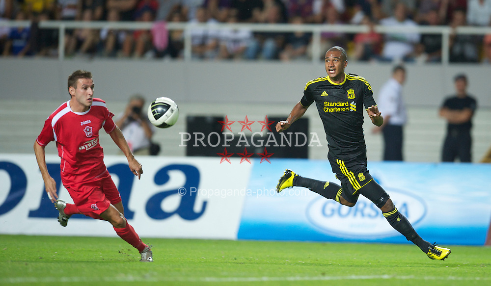SKOPJE, MACEDONIA - Thursday, July 29, 2010: Liverpool's David Ngog in action against FK Rabotnicki during the UEFA Europa League 3rd Qualifying Round 1st Leg match at the National Arena Filip II Stadium. (Pic by David Rawcliffe/Propaganda)