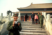 Chinese soldier tourist at the Imperial Palace, Beijing