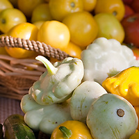 Yellow and white patty pan squash at a farmers' market