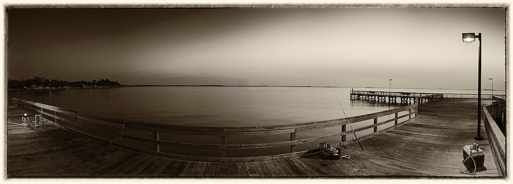 fishing at sunrise at Romancoke Peir, Stevensville Maryland
