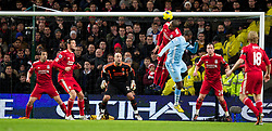 03.01.2012, Etihad Stadion, Manchester, ENG, PL, Manchester City vs FC Liverpool, 19. Spieltag, im Bild Liverpool's captain and goalkeeper Jose Reina sees Glen Johnson loose in the air to Manchester City's Yaya Toure who scores the 2-0 goal // during the football match of English premier league, 19th round, between Manchester City and FC Liverpool at Etihad Stadium, Manchester, United Kingdom on 2012/01/03. EXPA Pictures © 2012, PhotoCredit: EXPA/ Propagandaphoto/ Vegard Grott..***** ATTENTION - OUT OF ENG, GBR, UK *****