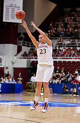 March 20, 2010; Stanford, CA, USA; Stanford Cardinal guard Jeanette Pohlen (23) shoots a three point shot against the UC Riverside Highlanders during the first half in the first round of the 2010 NCAA womens basketball tournament at Maples Pavilion.  Stanford defeated UC Riverside 79-47.
