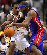 March 30, 2011; Indianapolis, IN, USA; Indiana Pacers guard Brandon Rush (25) guards Detroit Pistons shooting guard Richard Hamilton (32) at Conseco Fieldhouse. Mandatory credit: Michael Hickey-US PRESSWIRE