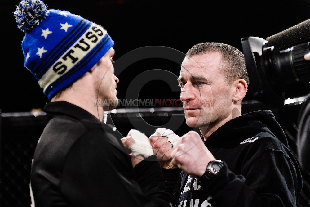 """LONDON, ENGLAND, MARCH 5, 2014: Brad Pickett and Neil Seery face off at the media open work-out sessions for """"UFC Fight Night: Gustafsson vs. Manuwa"""" inside One Embankment in London, England (Martin McNeil for ESPN)"""