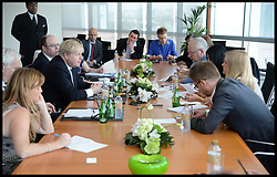 The London Mayor Boris Johnson talks to local journalist in Dubai. The Mayor is on a 2 day tour of the UAE, Tuesday April 16, 2013. Photo By Andrew Parsons / i-Images