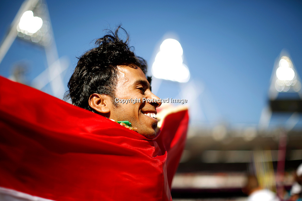 Ahmed Naas of Iraq celebrates after winning silver medal in Men's Javelin Throw F40 final at Olympic Stadium during the London 2012 Paralympic Games, London, Britain, 07 September 2012.  EPA/KERIM OKTEN