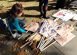 "35559258© Licensed to London News Pictures. 29/10/2011. London, UK.  A young girl picks up a banner featuring a defaced image of Syrian President Bashar Assad. Amnesty International join Syrians in the UK for a ""N0 More Blood - No More Fear"" march and rally in Paddington Green, London, today 29th October 2011. Activists claim  Syrian security forces opened fire on Friday on protesters and hunted them down in house-to-house raids, killing about 40 people in the deadliest day in weeks in the country's 7-month-old uprising. Photo: Stephen Simpson/LNP"