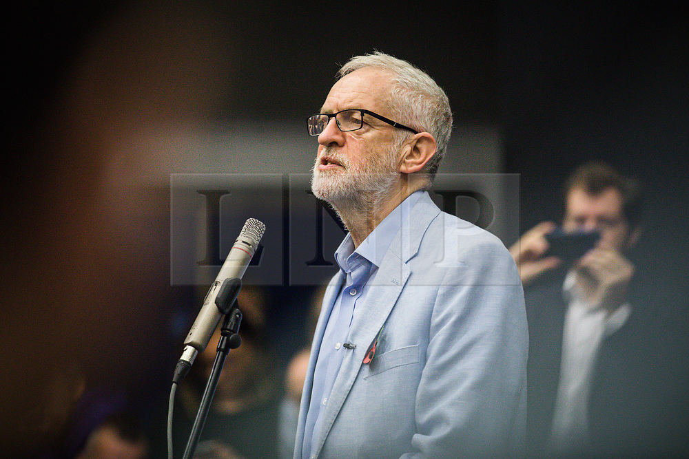 © Licensed to London News Pictures. 02/11/2019. Swindon, UK. Labour Party Leader Jeremy Corbyn speaks at Commonweal Sixth Form College in Swindon at a campaign rally ahead of the general election on 12 December. Photo credit: Rob Pinney/LNP