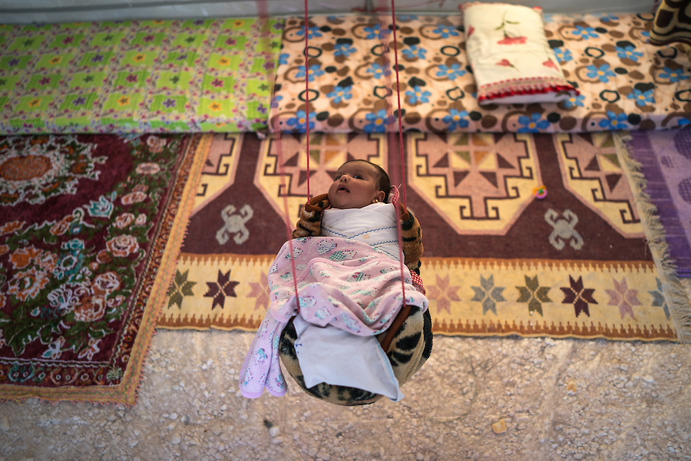a baby in the refugee camp
