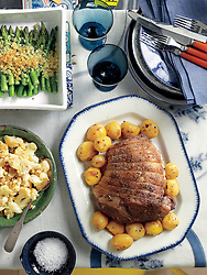 Easter Dinner, Lamb w/Potatoes, Cauliflower & Asparagus, John Kernick, D105471, 11/13/09, Everyday Food April 2009