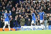 Everton players celebrate a goal by 11 Theo Walcott for Everton during the Premier League match between Everton and Newcastle United at Goodison Park, Liverpool, England on 23 April 2018. Picture by Graham Holt.