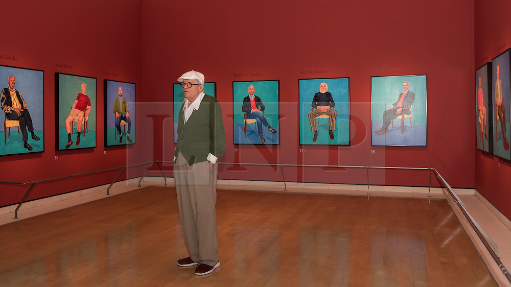"© Licensed to London News Pictures. 27/06/2016. London, UK. David Hockney unveils his new exhibition, ""82 Portraits and 1 Still-life"" at the Royal Academy of Arts in Piccadilly.  The paintings, considered as one body of work, have been made of the last two and a half years in the artist's Los Angeles studio and will be on show 2 July to 2 October. Photo credit : Stephen Chung/LNP"