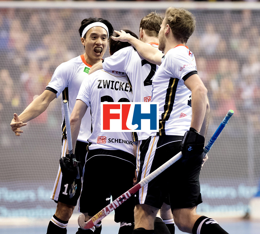 BERLIN - Indoor Hockey World Cup<br /> Final: Germany - Austria<br /> foto: Martin Zwicker scored and celebrates with Dan Nguyen.<br /> WORLDSPORTPICS COPYRIGHT FRANK UIJLENBROEK