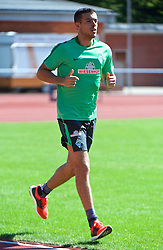 01.07.2015, Weserstadion, Bremen, GER, 1. FBL, SV Werder Bremen, Trainingsauftakt, im Bild Franco Mat&iacute;as Di Santo / Franco Matias Di Santo (SV Werder Bremen #9) beim Laktattest // during a Trainingssession of German Bundesliga Club SV Werder Bremen at the Weserstadion in Bremen, Germany on 2015/07/01. EXPA Pictures &copy; 2015, PhotoCredit: EXPA/ Andreas Gumz<br /> <br /> *****ATTENTION - OUT of GER*****