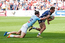 Bristol Rugby replacement Andy Uren scores a try as replacement Pat Tapley tackles - Mandatory byline: Rogan Thomson/JMP - 08/05/2016 - RUGBY UNION - Ashton Gate Stadium - Bristol, England - Bristol Rugby v Beford Blues - Greene King IPA Championship Semi Final 2nd Leg.