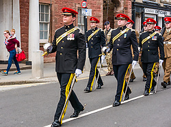 Pictured: Yeomanry receive Freedom of East Lothian, Dunbar, East Lothian, Scotland, United Kingdom, 06 July 2019. The historic Lothians and Border regiment is granted Freedom of East Lothian by Councillor Jim Goodfellow, East Lothian Council's Armed Forces Champion, which is accepted by Major S J Vine. The Yeomanry's links with the county date back to 1797.<br /> The regiment parades through Dunbar High Street.<br /> <br /> Sally Anderson | EdinburghElitemedia.co.uk