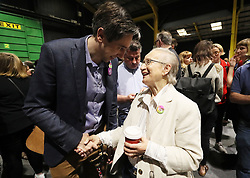 Minister for Health Simon Harris is greeted by retired Supreme Court judge Catherine McGuinness on arrival at the count centre in Dublin's RDS as votes are counted in the referendum on the 8th Amendment of the Irish Constitution which prohibits abortions unless a mother's life is in danger. Picture date: Saturday May 26, 2018. See PA story IRISH Abortion. Photo credit should read: Brian Lawless/PA Wire