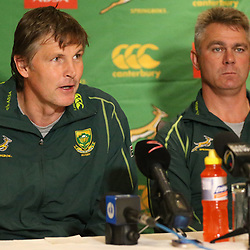 DURBAN, SOUTH AFRICA - JUNE 03: Dr Craig Roberts Team Doctor with Springbok coach Heyneke Meyer during the Springboks media conference at Kashmir Restaurant on June 03, 2013 in Durban, South Africa. (Photo by Steve Haag/Gallo Images)