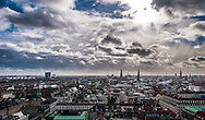 A view of Marmorkirken from above featuring a panoramic cityscape of Copenhagen.