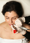 Micropigmentation procedure for the lips, permanent make-up.