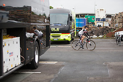 Leah Kirchmann (CAN) of Team Sunweb rides to the sign-on before Stage 2 of the OVO Energy Women's Tour - a 144.5 road race, starting and finishing in Stoke-on-Trent on June 8, 2017, in Staffordshire, United Kingdom. (Photo by Balint Hamvas/Velofocus.com)