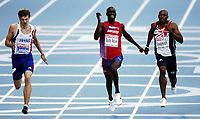 Friidrett, 30. juli  2010 ,<br /> EM Barcelona<br /> <br /> European Athletics Championships<br /> Barcelona<br /> <br /> <br /> Jaysuma Saidy Ndure , Norge 200 m  ble nummer 5<br /> Her fra finalen hvor Christophe Lemaitre , FRA vinner<br /> til høyre: Marlon Devonish , GBR<br /> <br /> Foto: Anders Hoven , Digitalsport