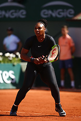 May 29, 2018 - Paris, Ile-de-France, France - Serena Williams attends for her ladies singles match against Kristyna Pliskova of Czech Republic during day three of the 2018 French Open at Roland Garros on May 29, 2018 in Paris, France. (Credit Image: © Mehdi Taamallah/NurPhoto via ZUMA Press)