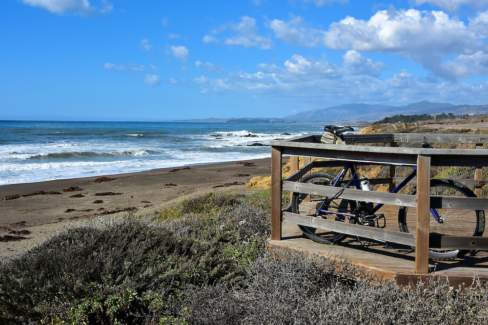 Bike on Boardwalk in San Simeon State Park, California<br />