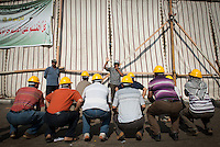 Pro-Morsi and Muslim Brotherhood supporters receive training in anticipation of clashes with anti-Morsi protestors, in Rab'a Aldawiya Square in Nasr City, Cairo.