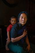 Ao Naga woman & child<br /> Ao Naga Headhunting Tribe<br /> Mokokchung district<br /> Nagaland,  ne India